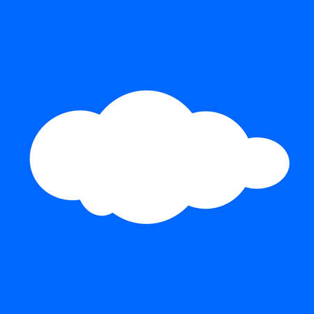 cloud, clouds shape, white clouds isolated on blue background, clip art cartoon clouds, illustration cloud for clipart and icon logo flat, single white cloud fluffy cartoon on blue square 向量圖像