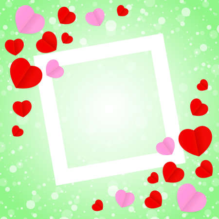 square white frame and red pink heart shape for template banner valentines card background, many hearts shape on green gradient soft for valentine backgrounds, image green with heart-shape decoration 向量圖像