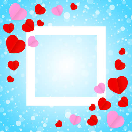 square white frame and red pink heart shape for template banner valentines card background, many hearts shape on blue gradient soft for valentine backgrounds, image blue with heart-shape decoration 向量圖像