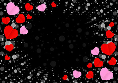 empty frame with red pink heart shape for template banner valentines card black background, many hearts shape on black for valentine backgrounds, image black with heart-shape decoration