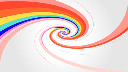 swirl rainbow colors effect on gray background, modern spiral colors rainbow style, wallpaper swirl multi colors, rainbow curve multicolor stripes, colorful spiral red on gray modern style swirl Stock Illustratie