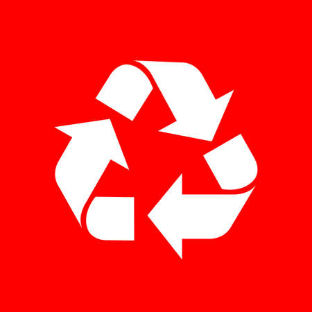 recycle symbol white isolated on red background, white ecology icon on red, white arrow shape for recycle icon garbage waste, recycle symbol for ecological conservation Ilustração