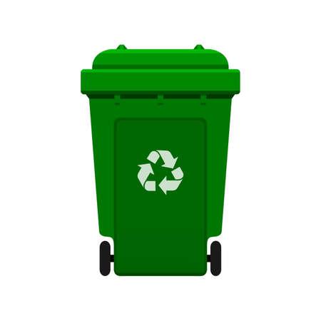 Bin, Riciclare il bidone della spazzatura in plastica verde per rifiuti isolati su sfondo bianco, Bidone verde con il simbolo dei rifiuti riciclati, Vista frontale del bidone con ruote riciclare colore verde per i rifiuti