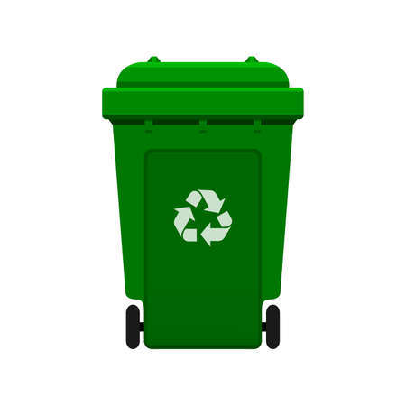 Bin, Recycle plastic green wheelie bin for waste isolated on white background, Green bin with recycle waste symbol, Front view of recycle wheelie bin green color for garbage waste Illustration