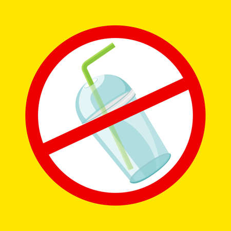 warning sign stop plastic cup and straws waste isolated yellow background, ban plastic waste in forbidden red  sign, symbol of stop plastic cup and straws disposable, pollution plastic garbage