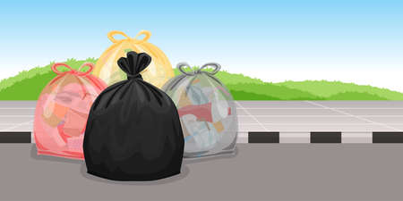 lots of garbage bags plastic waste at walkway floor, many trash bag plastic, lots of garbage bags plastic, pile garbage waste, pollution waste, 3r Ilustração