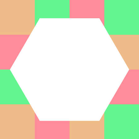 empty hexagon white on pastel color squares checkered block, hexagons template banner on checker multi color, colorful block soft pastel bright, cubes square polygon mosaic and copy space advertising 向量圖像