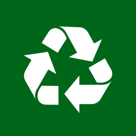 recycle symbol white isolated on green background, white ecology icon on green, white arrow shape for recycle icon garbage waste, recycle symbol for ecological conservation Stock fotó - 132358964