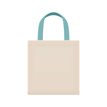 eco cloth bags blank or cotton yarn cloth bags, fabric cloth bag with handle strap blue pastel, eco bag template for design graphic in campaign to use bags to reduce waste using plastic bags  イラスト・ベクター素材