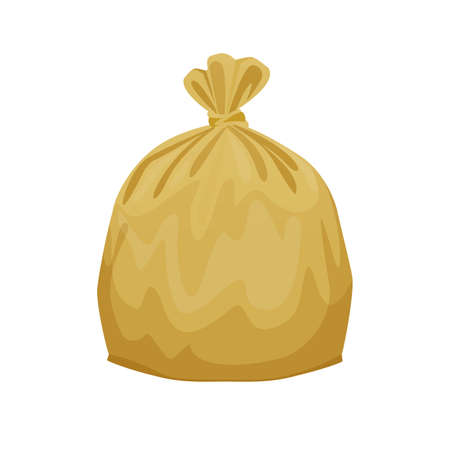 bag plastic waste yellow gold isolated on white background, golden plastic bags for waste separation, plastic bag for garbage waste, clip art plastic bag for info graphic design, Illustration bin bags