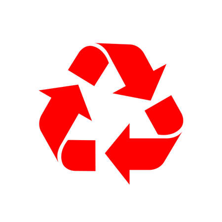 recycle symbol red isolated on white background, red ecology icon sign, red arrow shape for recycle icon garbage waste, recycle symbol for ecological conservation Vettoriali