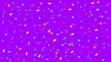 colorful simple party confetti flying on purple for background, star ribbon confetti glitter on purple, geometric stars ribbons explosion for invitation card christmas, anniversary and celebration