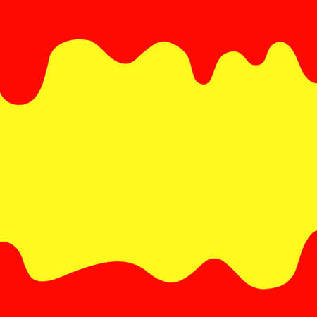 banner dripping paint red and yellow for background colorful, watercolor drips border, red frame of dripping creamy liquid, cartoon frame red beautiful template for banner poster and yellow copy space Ilustrace