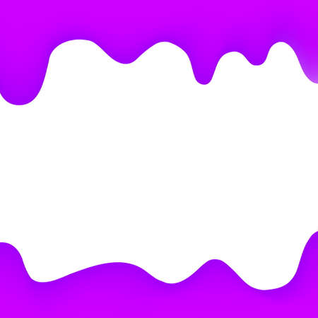 banner dripping paint purple cartoon style for background, watercolor drips border, purple frame of dripping creamy liquid, cartoon frame beautiful template for banner or poster and copy space Illustration