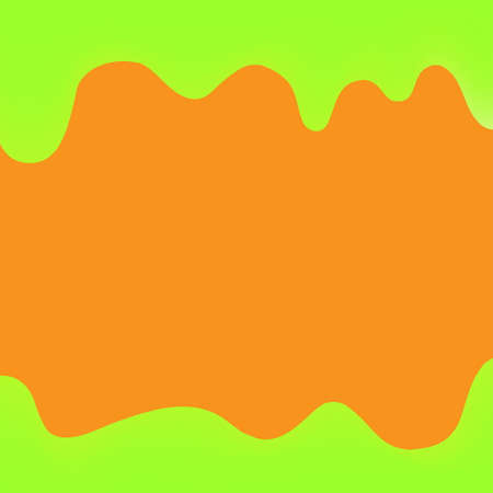 banner dripping paint green and orange for background colorful, watercolor drips border, green frame of dripping creamy liquid, cartoon frame red beautiful template for banner poster and copy space Illustration
