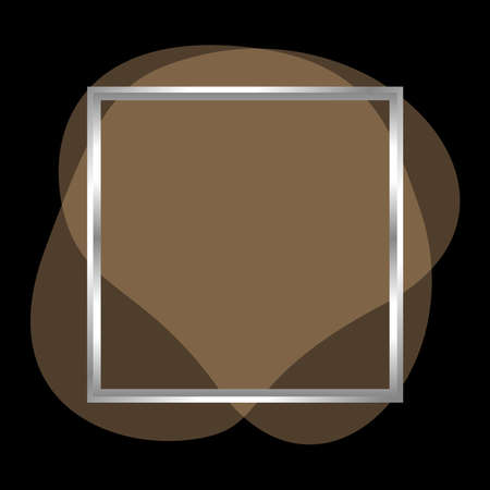 square frame silver on brown blob shapes geometric for banner background, simple liquid stain brush flat blob for labels ad copy space, light brown fluid spot template for logo and graphic banner ad