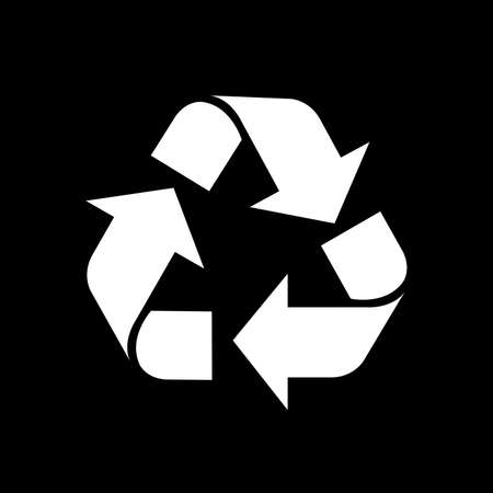recycle symbol white isolated on black background, white ecology icon on black, white arrow shape for recycle icon garbage waste, recycle symbol for ecological conservation Çizim