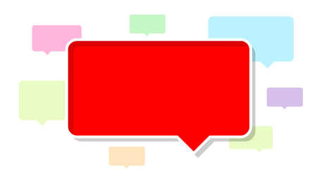 red dialog frame for copy space, speech bubble red, speech dialog red talk on colorful and white background, template empty balloon speech for copy space text, simple announcement sign for say chat