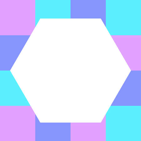 empty white hexagon on pastel color squares checkered block, template banner checker multi color rainbow, ad colorful block soft pastel bright, cubes square polygon mosaic and copy space advertising Çizim