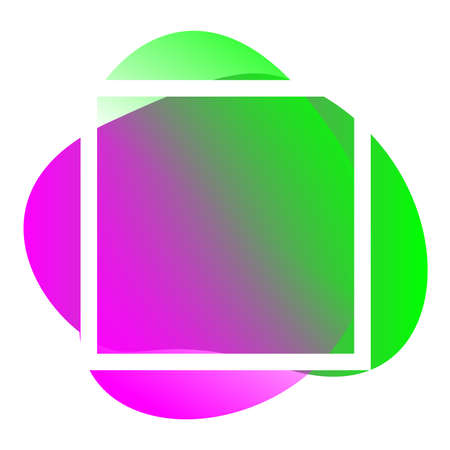 square frame white on purple green blob shape geometric for banner background, simple liquid stain brush flat blob for label copy space, purple green fluid spot template and graphic banner Çizim