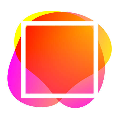 square frame white on orange pink blob shapes geometric for banner background, simple liquid stain brush flat blob for labels ad copy space, pink yellow fluid spot template for and graphic banner