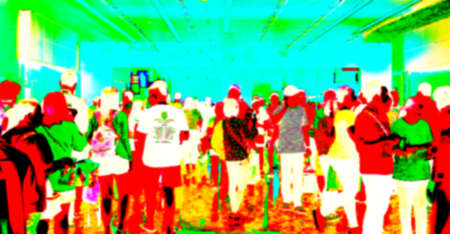 blurred people with infrared heating color for background, human electric infrared heating concept blur image, lot of people with infrared red and green blur, image tourism person for infrared color