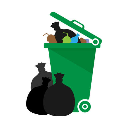 bin, plastic bin green of waste and plastic bag isolated on white background, dumpster recycle illustration, dustbin plastic garbage full, clip art garbage, trash bin flat for infographics Vettoriali
