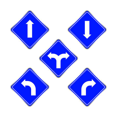 road signs blue set, traffic road sign blue isolated on white, signpost caution for direction, road sign and white arrow pointing