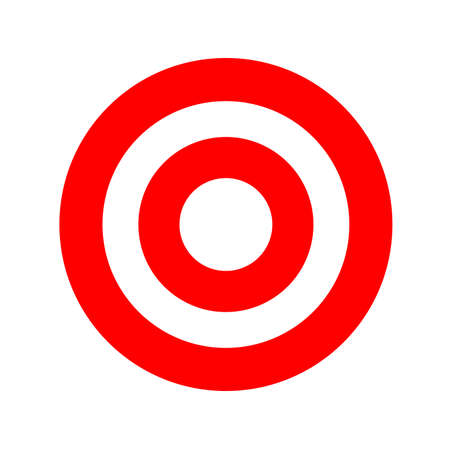 red round symbol isolated on white, circle icon red for shooting target arrow aiming, target for sport game shooting arrow aim, circle point focus for success idea, target sign for business goal ideas