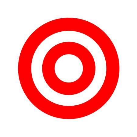 symbole rond rouge isolé sur blanc, icône de cercle rouge pour la visée de flèche cible, cible pour le but de flèche de tir de jeu de sport, point de cercle pour l'idée de réussite, signe cible pour les idées d'objectif commercial