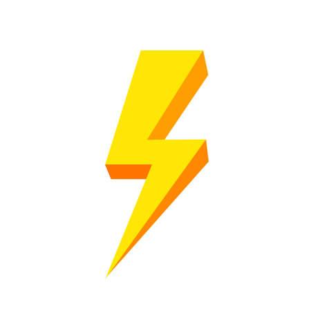 yellow thunder icon isolated on white background, thunder storm symbol yellow flat lay, clip art thunder, 3d thunder yellow for logo