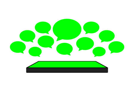 speech bubble green bright on smartphones green screen, smartphone and speech bubble icon of social chat concept, dialog speech sign for copy space, talk conversation message symbol, isolated on white