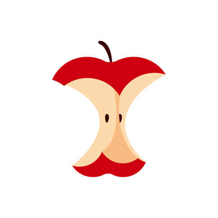 an eaten apple single isolated on white, icon red apple eating sequence, bitten red apple fruit cartoon, illustration red apple an eaten simple symbol 일러스트