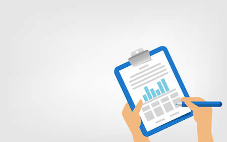 tasks clipboard icon in hands and pen and copy space, clipboard with checkmark for report quality check, infographics check stock for quality control, signed approved document symbol project completed 向量圖像