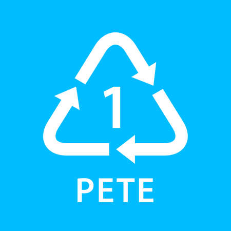 recycle arrow triangle PETE types 1 isolated on blue background, symbology one type logo of plastic PETE materials, recycle triangle types icon graphic, recycle plastic ecology icon Logo