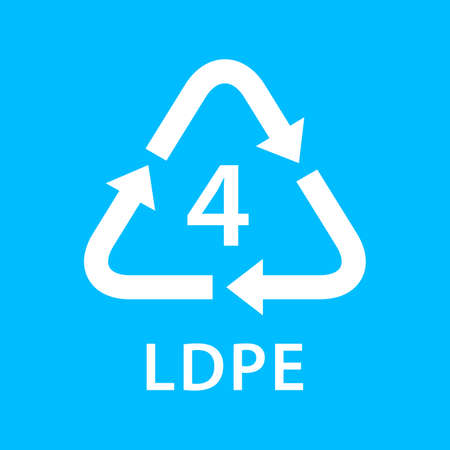 recycle arrow triangle LDPE types 4 isolated on blue background, symbology four type logo of plastic LDPE materials, recycle triangle types icon graphic, recycle plastic ecology icon