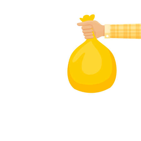 bag waste yellow in hand isolated on white, hand holding yellow plastic trash bag, illustration bags garbage waste in hand, plastic bags bin of garbage for disposal and copy space