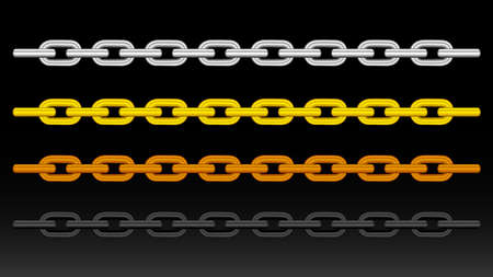 illustration silver chain, gold chain, copper metal chain and black steel chains isolated on black background