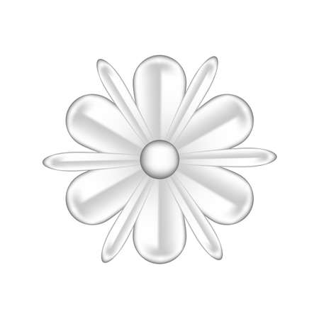 single flowers silver ornate isolated on white background, luxury flower petal silver simple, silver flowers object metal sculpture, illustration of deluxe silver flower, clip art flowers luxurious Иллюстрация