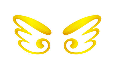 angel wings icon gold isolated on white background, cute cartoon golden wing ornate, clip art angel wings shape for logo, luxury gold color angel wings for freedom symbol, illustration wing gold shine