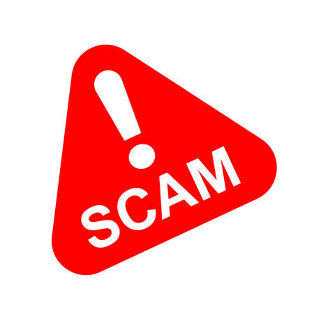 scam triangle sign red for icon isolated on white, scam warning sign graphic for spam email message and error virus, scam alert icon triangle for hacking crime technology symbol concept