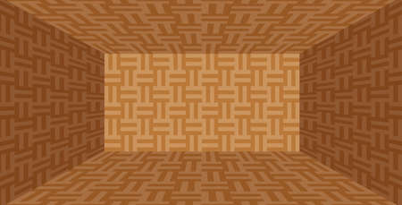 parquet wooden room empty in top view for background, illustration parquet floor box shape, parquet texture for decorating room, wood textured pattern brown, flooring box shape with parquet texture