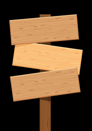 three wooden sign of different directions isolated on black, empty wood plank signs for copy space, signboard wood texture, clip art wooden flat plank for signpost, wood plank panel for title message
