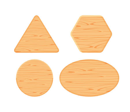 wooden plank different collection isolated on white background, hexagon wood shape, wooden triangle, circle wood shaped plank light brown, wooden ellipse or oval panel, wood shape for sign decoration Ilustração