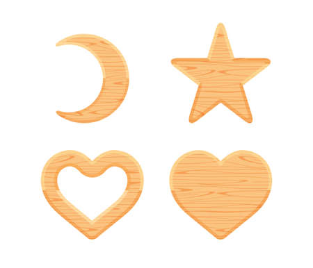 wooden crescent moon, star wood cute, heart shaped wood, wooden heart frame shape brown retro, different shapes wooden cut out for vintage decoration, wood plank star and crescent moon and heart