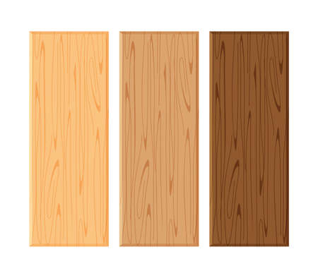 wood board isolated on white background, planks wood brown various types horizontal, empty wooden plank board for copy space, plank light brown and dark brown set Vetores