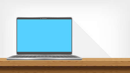 laptop modern on table wood and copy space, workspace office, monitor screen on desk space, computer notebook on table and grey wall, work office space, workspace with desktop for creative background