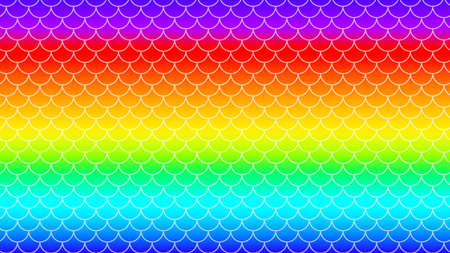 rainbow colorful gradient with mermaid pattern for background, bright rainbow mermaid pattern, bright colors or holographic for fish tail banner or invitation, underwater sea pattern for girlie party