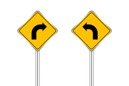 road sign of arrow pointing bend to left and right, traffic road sign yellow isolated on white, traffic sign turn left and right, warning caution sign and steel pole for direction signpost the way 向量圖像