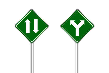 road sign of arrow pointing two way traffic ahead and crossroad, traffic road sign green color isolated on white, warning caution sign and steel pole for direction signpost the way